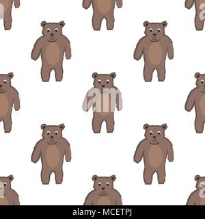 Seamless childish pattern with funny character of bear. Repeating pattern. Kids Fashion. Vector Illustration - Stock Photo