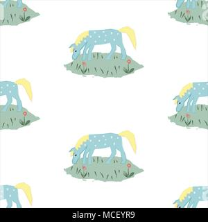 Seamless pattern with funny hand drawn blue horse with stains. Childish fairy tale Style. Repeating Pattern. Vector Illustration - Stock Photo