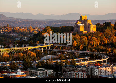 WA14261-00...WASHINGTON - The Interstste 90 and Interstate 5 interchange with the Veterans Hospital on the hill as seen from the Smith Tower. - Stock Photo