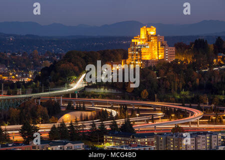 WA14262-00...WASHINGTON - The Interstste 90 and Interstate 5 interchange with the Veterans Hospital on the hill as seen from the Smith Tower. - Stock Photo