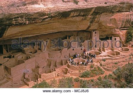 USA. Colorado. Mesa Verde National Park. Ancestral Puebloan cliff dwellings. - Stock Photo