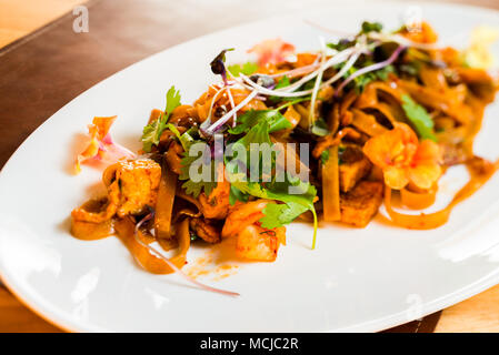 home-made noodles with chicken fried in sauce - Stock Photo