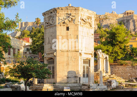 Tower of the Winds, an octagonal Pentelic marble clocktower in the Roman Agora, is considered the world's first meteorological station - Athens, Greec - Stock Photo
