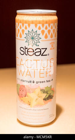 Las Vegas, Nevada, USA - October 2, 2017: Steaz cactus water with starfruit and green tea, refreshing organic beverage in an aluminum can - Stock Photo