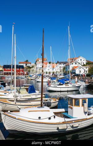 Harbor in Mollosund on the Swedish west coast - Stock Photo