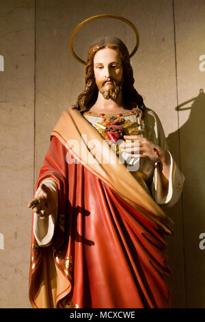 Pavia, Italy. 20 November 2017. The statue of the Most Holy Heart of Jesus in the Salesian church 'Santa Maria delle Grazie' - Holy Mary of the Grace. - Stock Photo