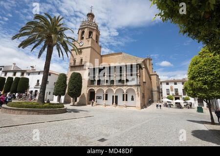 Iglesia de Santa Maria la Mayor in the Plaza Duquesa de Parcent Town Hall Square, Ronda, Andalucia, Spain, Europe - Stock Photo