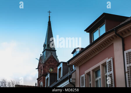 Badenweiler, Germany - December 24, 2017 : architecture detail of the evangelist church kirche paul a winter day - Stock Photo