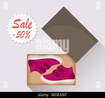 Little cute baby shoes in box, side view. Sale with a discount of 50 percent. Kid s casual pink boots. Illustration for a shoe store. Vector flat illu - Stock Photo