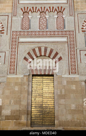 Moorish style doorway on outside wall of the Mezquita of Cordoba, Cordoba, Andalucia, Spain, Europe - Stock Photo