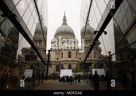 Reflection image of St. Pauls Cathedral, truly sensational and Tranquil with the clouds of Spring adding to the dramatic appearance. - Stock Photo