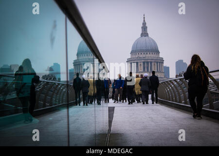 St. Pauls Cathedral Reflection between two iconic glass buildings - Stock Photo