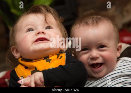 Happy twins - Stock Photo