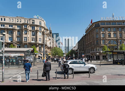view of people on kaiserstrasse street and the square in front of main station, frankfurt am main, germany - Stock Photo