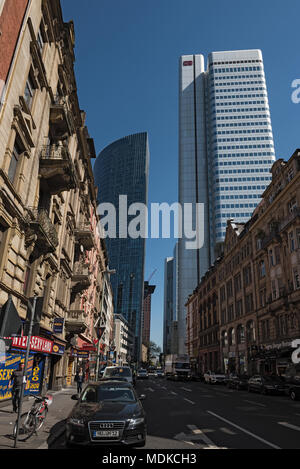 skyscraper building on the taunusstrasse, frankfurt am main, germany - Stock Photo