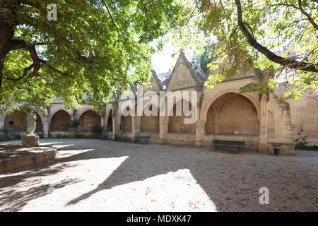 Paris, cloister of the Church of Saint Severin, former ossuary, cemetery, vaults, - Stock Photo