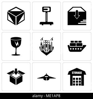 Set Of 9 simple editable icons such as Storage, Airplane frontal view, Delivery packaging box, Containers on oceanic ship, Ocean transportation, Fragi - Stock Photo