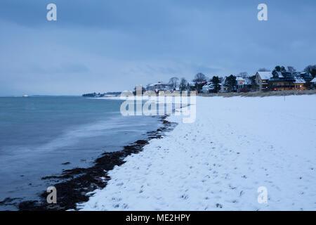 Snow on the baltic sea coast, Niendorf, Timmendorfer Strand, Lübeck Bay, Schleswig-Holstein, Germany - Stock Photo