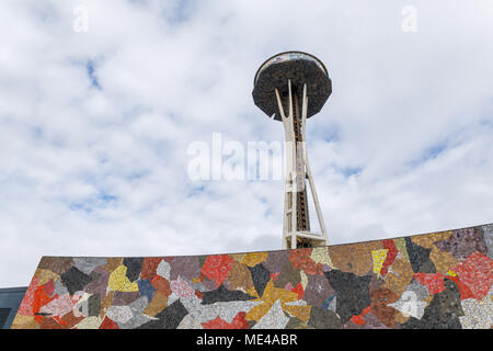 Seattle, Washington - April 9, 2018 : Seattle Space Needle Under Remodeling Construction, which is an observation tower built for the 1962 World Fair - Stock Photo