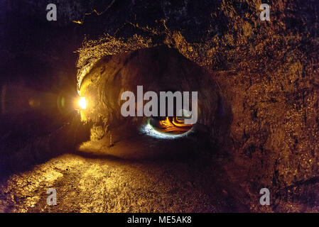 Inside the Thurston Lava Tube on the Big Island of Hawaii - Stock Photo