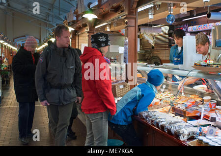 The Old Market Hall Hietalahden Kauppahalli  with an extensive range of exotic local Finnish foods and products Helsinki Harbour Finland - Stock Photo