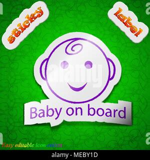 Baby on board icon sign. Symbol chic colored sticky label on green background. Vector illustration - Stock Photo