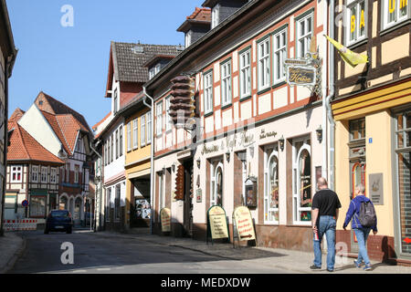 Salzwedel, Germany - April 20, 2018: A typical street with half-timbered houses in the Hanseatic city of Salzwedel, which is world-famous for its trad - Stock Photo