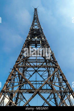 Gliwice radio station in a dramatic bottom view. The place of provocation the day before the attack of the Third Reich on Poland. Gliwice, Poland. - Stock Photo