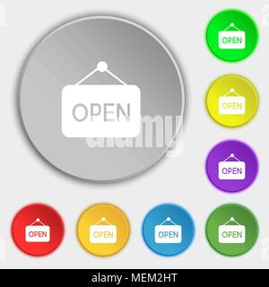 open icon sign. Symbol on eight flat buttons. Vector illustration - Stock Photo