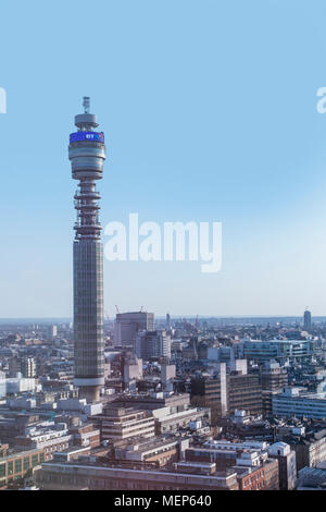A view of BT Tower and west London from above - Stock Photo