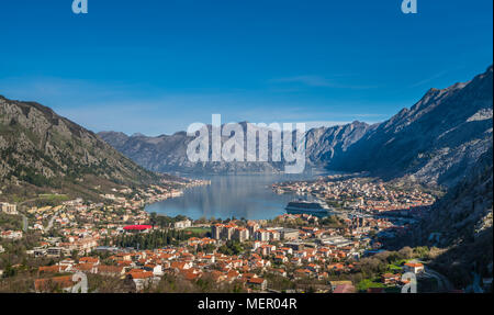 Stunning landscape of the Bay of Kotor in Montenegro as seen from the road to Lovcen National Park - Stock Photo