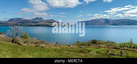 Panoramic view across the Sound of Skye to the mountains of the Scottish Highlands around Knoydart, Loch Hourn, Lochalsh and Lochaber, Scotland, UK - Stock Photo