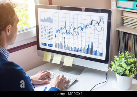 Home trader analyzing forex (foreign exchange) trading charts and buy sell buttons on computer screen, stock market investment, financial technology ( - Stock Photo
