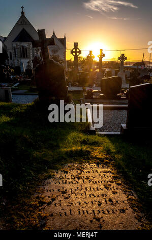 Graveyard cemetery at sunset in Ardara, County Donegal, Ireland - Stock Photo