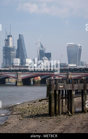 London skyline on a spring day, showing iconic buildings at 20 Fenchurch Street, 22 Leadenhall Street, and other buildings, some under construction - Stock Photo