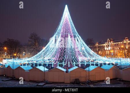 Christmas tree in Vilnius, Lithuania - Stock Photo