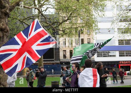 London, UK. 23rd April, 2018. Union Jack with the Right Wing 'Kekistani' Flag Credit: Alex Cavendish/Alamy Live News - Stock Photo