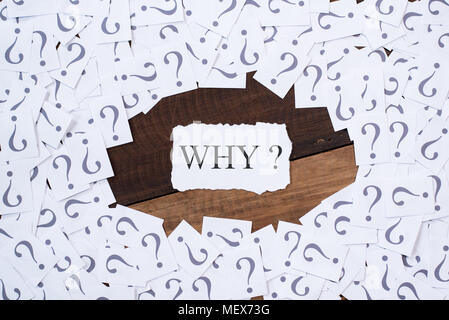white paper note with question mark and word WHY in the center on wooden table. why concept background - Stock Photo