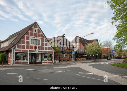HITTFELD, GERMANY - MAY 11, 2013: Deserted street in a quiet provincial German town in the early spring morning - Stock Photo