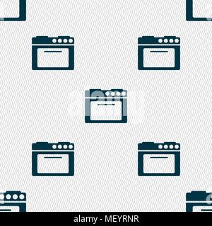 kitchen stove icon sign. Seamless pattern with geometric texture. Vector illustration - Stock Photo