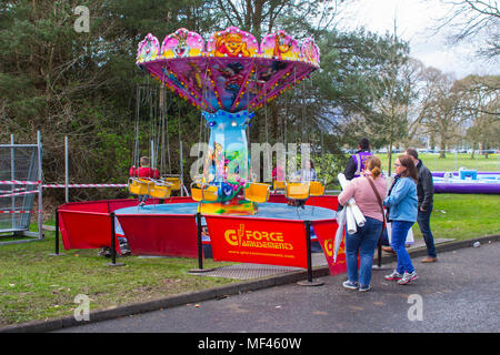 20 April 2018 An infant's carousel ride in course of construction on the preparation day for the annual Spring Festival held in Barnett's Demesne Bel - Stock Photo