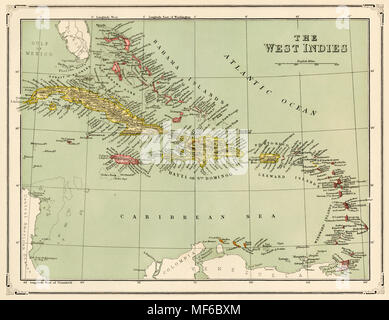 Map of Caribbean islands called the West Indies, 1870s. Printed color lithograph - Stock Photo