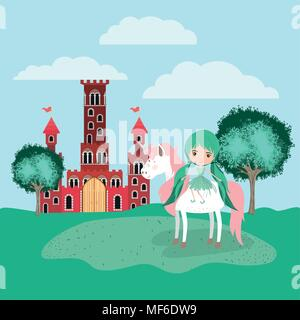 fairy with unicorn in the camp and castle vector illustration design - Stock Photo