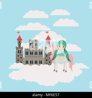 fairy with unicorn in the clouds and castle vector illustration design - Stock Photo