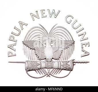 Papua New Guinea coat of arms, Bird of Paradise, cutout from a 10 Toea coin - Stock Photo