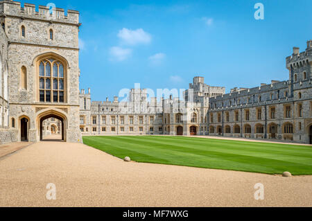 Windsor, United Kingdom - MAY 05, 2016 : View of Upper Ward (Quadrangle) in Medieval Windsor Castle. Windsor Castle is a royal residence at Windsor in - Stock Photo