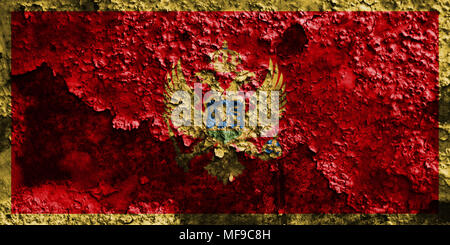 Old Montenegro grunge background flag - Stock Photo