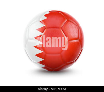 High qualitiy rendering of a soccer ball with the flag of Bahrain.(series) - Stock Photo