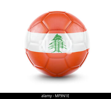 High qualitiy rendering of a soccer ball with the flag of Lebanon.(series) - Stock Photo