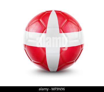 High qualitiy rendering of a soccer ball with the flag of Denmark.(series) - Stock Photo